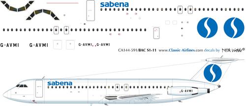 1/144 Scale Decal Sabena BAC-111