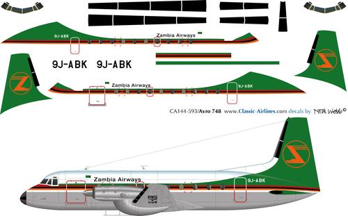 1/144 Scale Decal Zambia Airways Avro 748