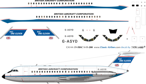 1/144 Scale Decal BAC-111 Prototype Livery