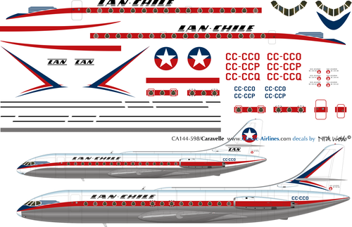 1/144 Scale Decal Lan Chile Caravelle