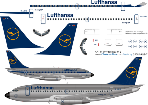 1/144 Scale Decal Lufthansa 737-200 Experimental
