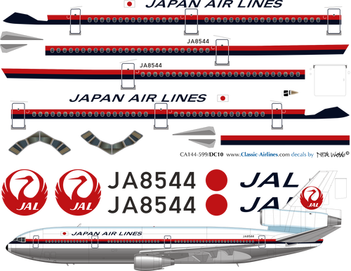 1/144 Scale Decal Japan Air Lines DC-10 Delivery