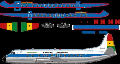 1/144 Scale Decal Ghana Airways Viscount 800