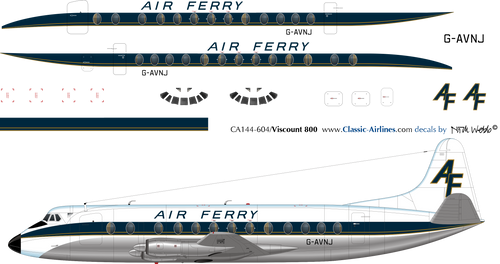 1/144 Scale Decal Air Ferry Viscount 800