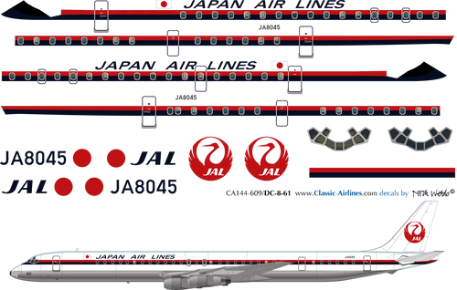 1/144 Scale Decal Japan Air Lines DC8-61