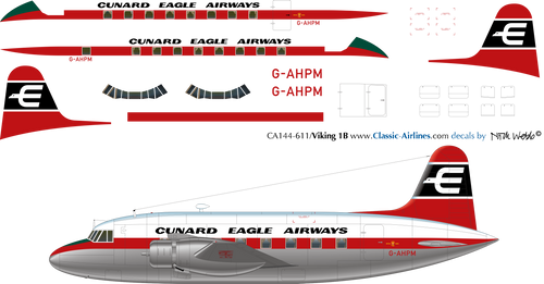 1/144 Scale Decal Cunard Eagle Airways Viking 1B