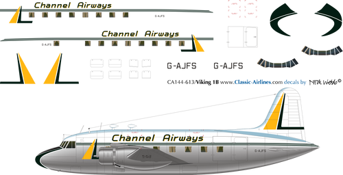 1/144 Scale Decal Channel Airways Viking 1B