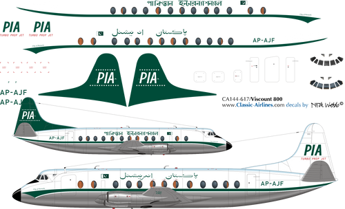 1/144 Scale Decal PIA Viscount 800