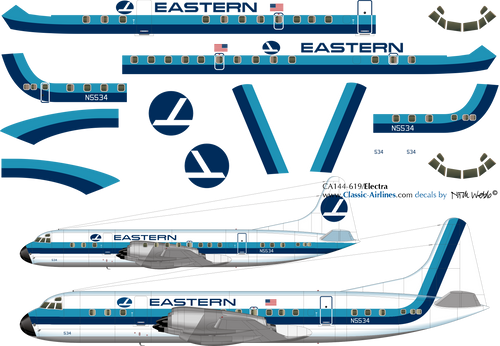 1/144 Scale Decal Easern Airllines Electra