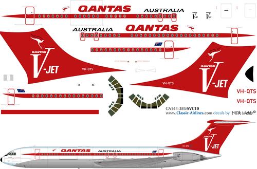 1/144 Scale Decal Qantas VC-10