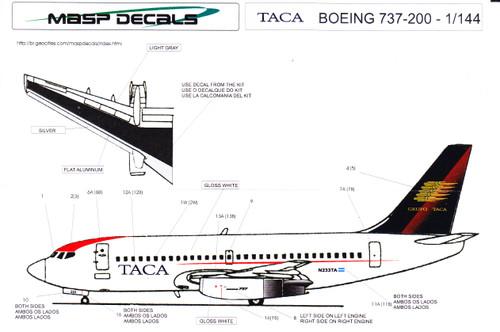 1/144 Scale Decal TACA 737-200
