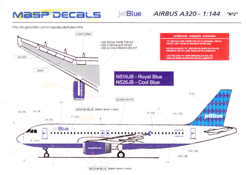 1/144 Scale Decal JetBlue A-320 Cool Blue