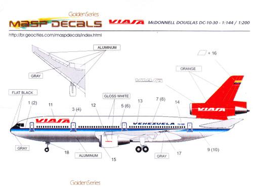 1/144 Scale Decal VIASA DC-10 Golden Series