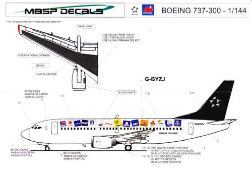 1/144 Scale Decal British Midland 737-300 Star Alliance