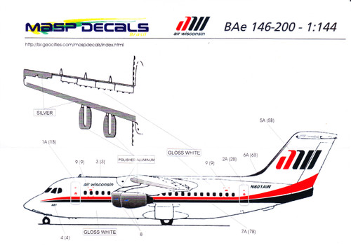 1/144 Scale Decal Air Wisconsin BAe146-200