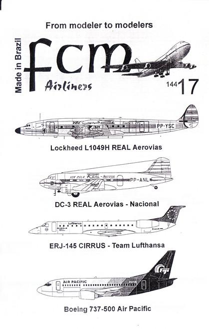 1/144 Scale Decal REAL DC-3 / REAL Connie / Cirrus Team Lufthansa ERJ-145 / Air Pacific 737-500