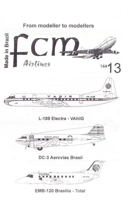 1/144 Scale Decal Varig Electra / Aerovias Brasil DC-3 / Total Brasilia EMB-120