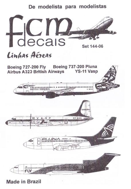 1/144 Scale Decal British Airways A-320 / VASP YS-11 / Pluna 737-200 / FLY 727-200