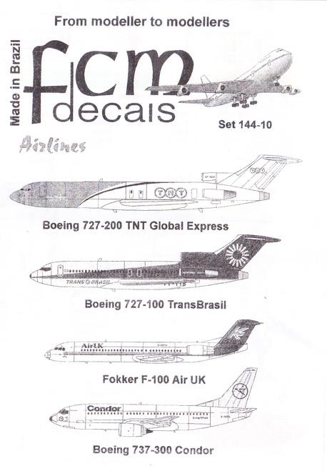 1/144 Scale Decal TNT 727-200 / Trans Brasil 727-100 / AirUK F-100 / Condor 737-300