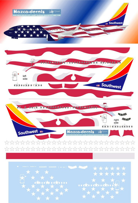 1/144 Scale Decal Southwest 737-800 Freedom One