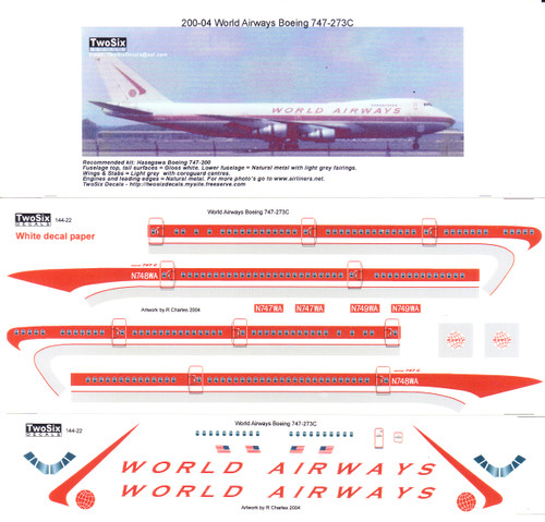 1/144 Scale Decal World Airways 747-200  *please note artwork says 1/200 Scale but is not correct*