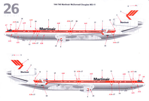 1/144 Scale Decal Martinair MD-11