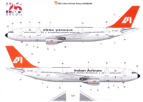 1/144 Scale Decal Indian Airlines A-300 B2 / B4