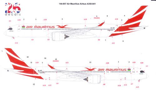 1/144 Scale Decal Air Mauritius A350-900
