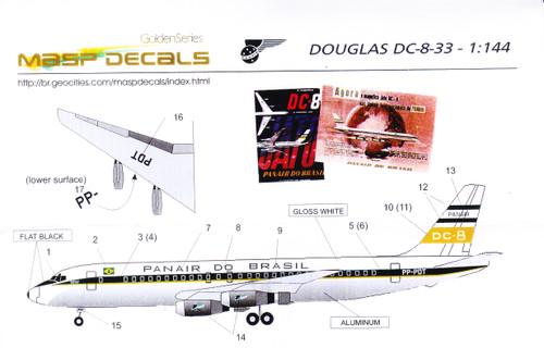 1/144 Scale Decal Panair  Do Brasil DC8-33