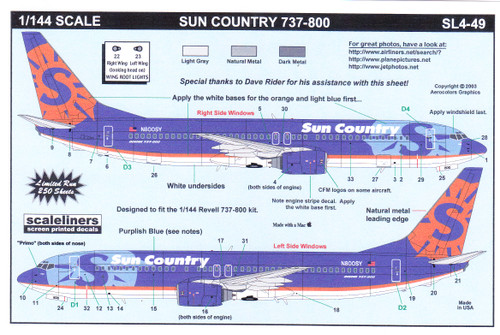 1/144 Scale Decal Sun Country 737-800