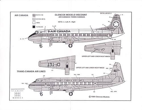 1/96 Scale Decal Air Canada / Trans-Canada Viscount