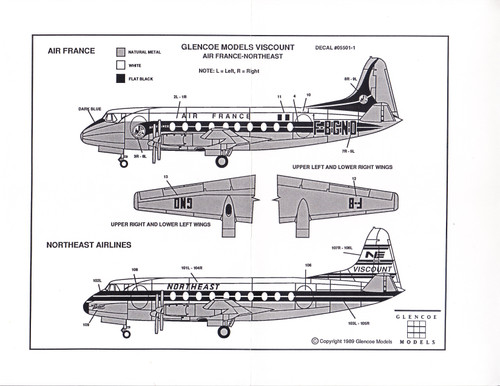 1/96 Scale Decal Northeast / Air France Viscount