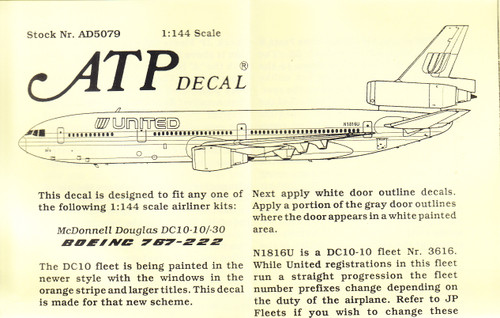 1/144 Scale Decal United DC10-30