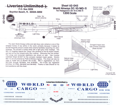 1/200 Scale Decal World Airways DC-10 / MD-11