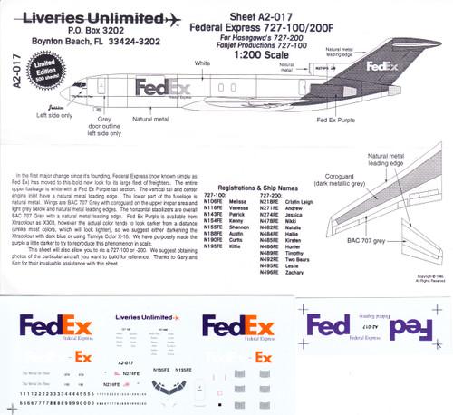 1/200 Scale Decal FedEx 727-100 / 200F