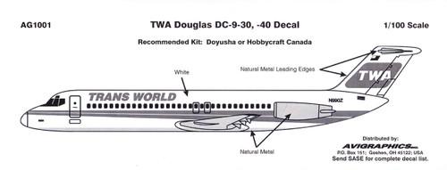 1/100 Scale Decal TWA DC9-30 / 40