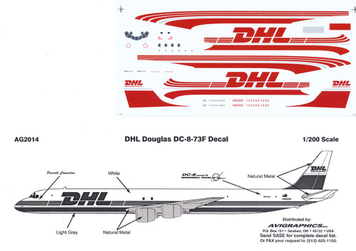1/200 Scale Decal DHL DC-8