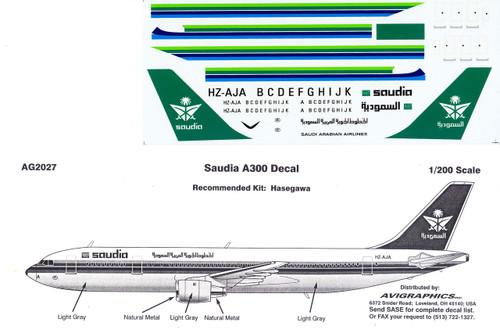 1/200 Scale Decal Saudia A-300