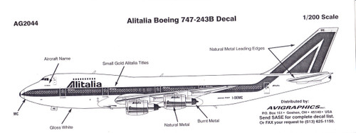 1/200 Scale Decal Alitalia 747