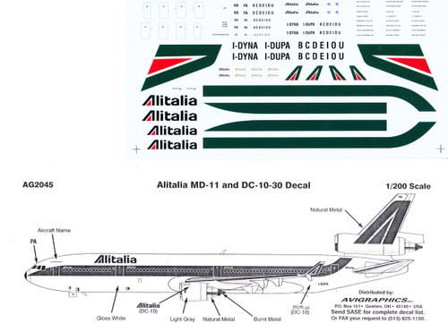 1/200 Scale Decal Alitalia DC10-30 / MD-11
