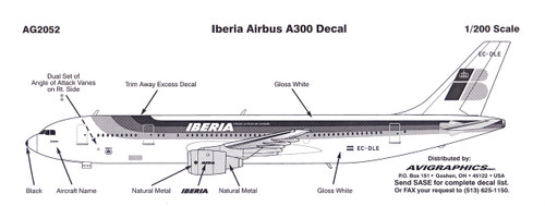 1/200 Scale Decal Iberia A-300