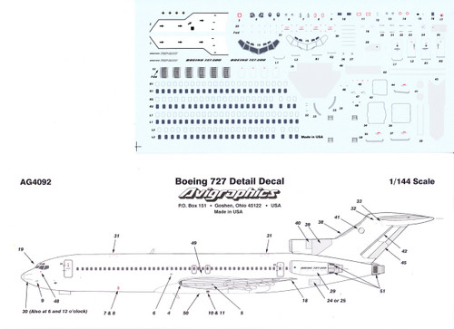 1/144 Scale Decal Detail Sheet 727
