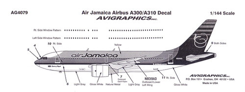 1/144 Scale Decal Air Jamaica A-300 / A-310
