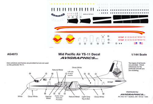 1/144 Scale Decal Mid Pacific YS-11