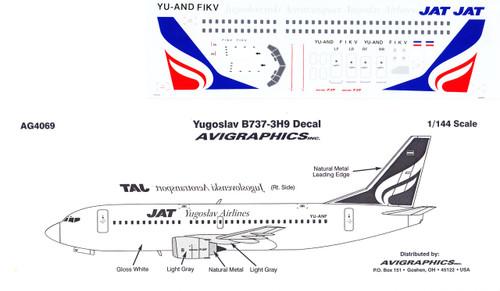 1/144 Scale Decal JAT Yugoslav 737-300