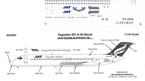 1/144 Scale Decal JAT Yugoslav DC9-30