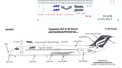 1/144 Scale Decal JAT Yugoslav DC9-30