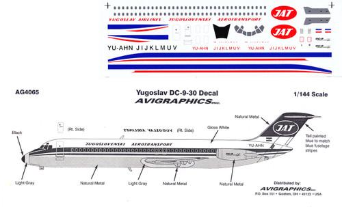 1/144 Scale Decal Yugoslav DC9-30