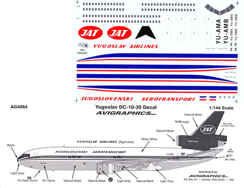 1/144 Scale Decal Yugoslav DC10-30