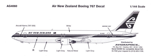 1/144 Scale Decal Air New Zealand 767